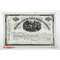 Berths & Edith Gold Mining Co., 1878 Issued Stock