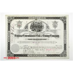 Sonora Consolidated Mill & Mining Co., 1883 Issued Stock