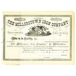 Millerstown Iron Co., ca.1880-1900 Specimen Stock Certificate