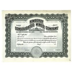 Kimberly Consolidated Mines Co., ca.1900-1920 Specimen Stock Certificate