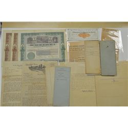 Mining Related Correspondence Lot including Stock Certificates