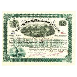Basic City Mining, Manufacturing and Land Co., 1890 Issued Stock.