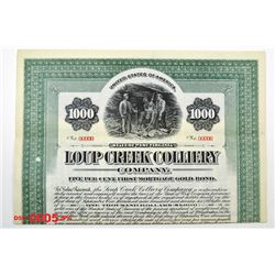 Loup Creek Colliery Co., 1911 Specimen Bond