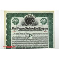 West Virginia Southern Coal Co., 1927 Specimen Bond