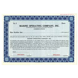 Marine Operating Co. Inc., 1952 Specimen Stock Certificate