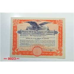 Hesperia Oil & Gas Co. of California, 1925 Issued Stock
