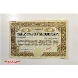 American Gas Co., ca.1890-1900 Specimen Stock Certificate.