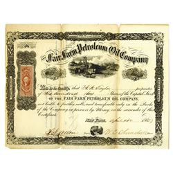 Fair Farm Petroleum Oil Co., 1865 Issued Stock Certificate.