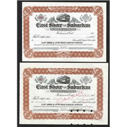 East Shore and Suburban Railway Co., 1910 Stock Certificate Pair.