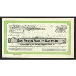 San Ramon Valley Railroad Co., 1912 Stock Certificate.