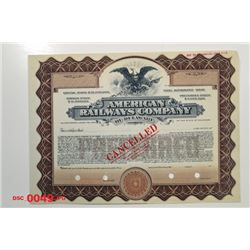 American Railways Co. of Delaware, ca.1940-1950 Specimen Stock