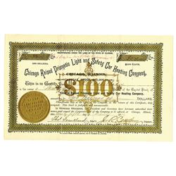 Chicago Raised Prismatic Light and Safety Car Heating Co., 1887 Issued Stock Certificate