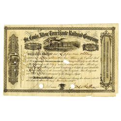 St. Louis, Alton and Terre Haute Railroad Co , 1865 Issued Stock Certificate