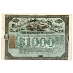 Cincinnati, Lafayette and Chicago Railroad Co., 1871 Issued Bond With Imprinted Revenue.