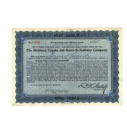 Atchison, Topeka and Santa Fe Railway Co., 1910 Issued Bond