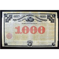 New Orleans, Mobil & Chattanooga Rail Road Co. 1870 Bond.
