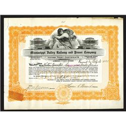 Mississippi Valley Railway and Power Co., 1915 Reissued Stock Certificate.
