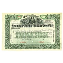 American Car and Foundry Co., ca.1930-1940 Specimen Stock Certificate