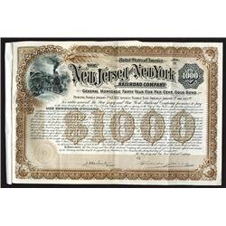 New Jersey and New York Railroad Co., 1892 Specimen Bond