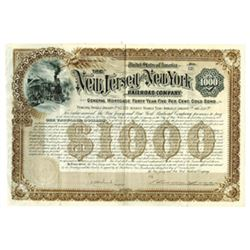 New Jersey and New York Railroad Co., 1892 Issued Bond