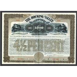 Hocking Valley Railway Co. 1899 Specimen Bond
