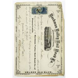 Bachman Valley Rail Road Co. of Pennsylvania, 1872 Stock Certificate.