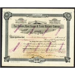Chicago, Rock Island, and Texas Railway Co. 1903 Canceled Stock Certificate.
