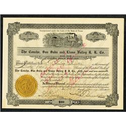 Concho, San Saba and Llano Valley R.R. Co., 1910 Stock Certificate.