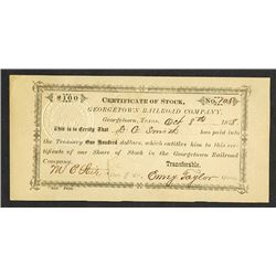 Georgetown Railroad Co. 1878 Issued Stock Certificate.