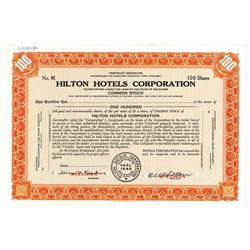 Hilton Hotels Corp., ca.1960-1970 Specimen Stock Certificate
