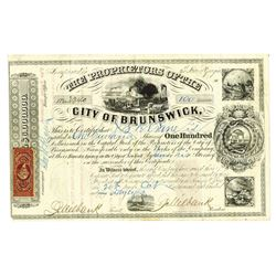Proprietors of the City of Brunswick, 1868 Issued Stock Certificate