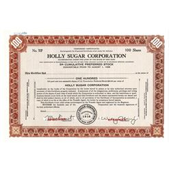 Holly Sugar Corp., ca.1930-1940 Specimen Stock Certificate