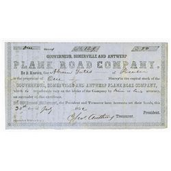 Gouverneur, Somerville and Antwerp Plank Road Co., 1852 Issued Stock Certificate