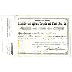 Lancaster and Ephrata Turnpike and Plank Road Co., 1889 Issued Stock Certificate