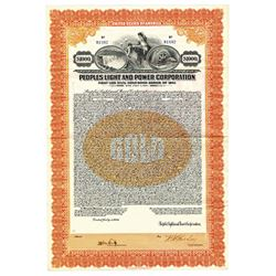 Peoples Light and Power Corp., 1926 Issued Bond