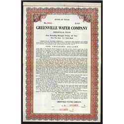 Greenville Water Co., 1908 Specimen Bond