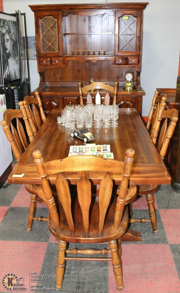 PINE DINING ROOM SET INCLS HUTCH, SERVING TABLE, 6