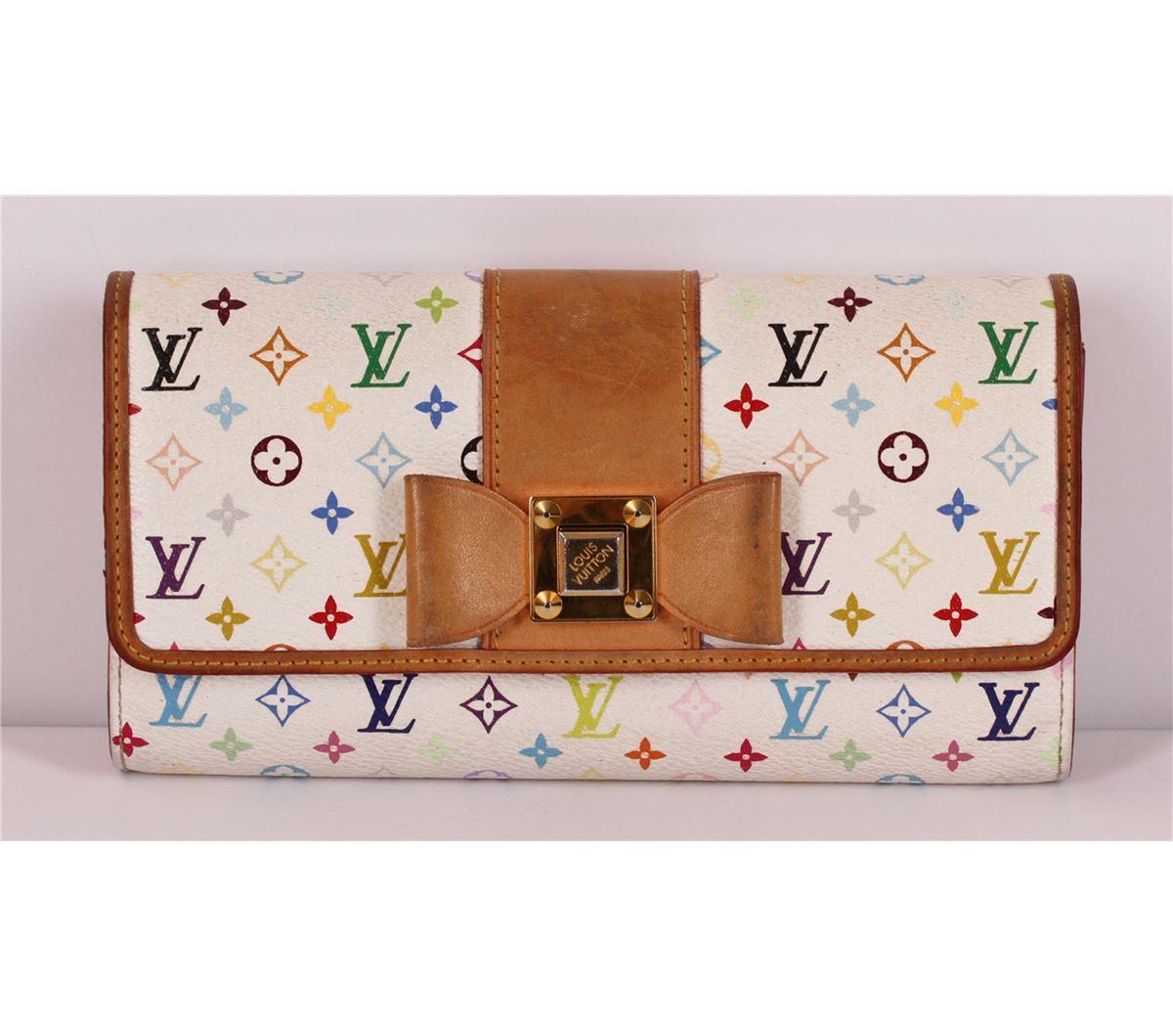 415e72844ee Image 1   Authentic Louis Vuitton White Multicolor Monogram Bow Sarah Wallet  ...