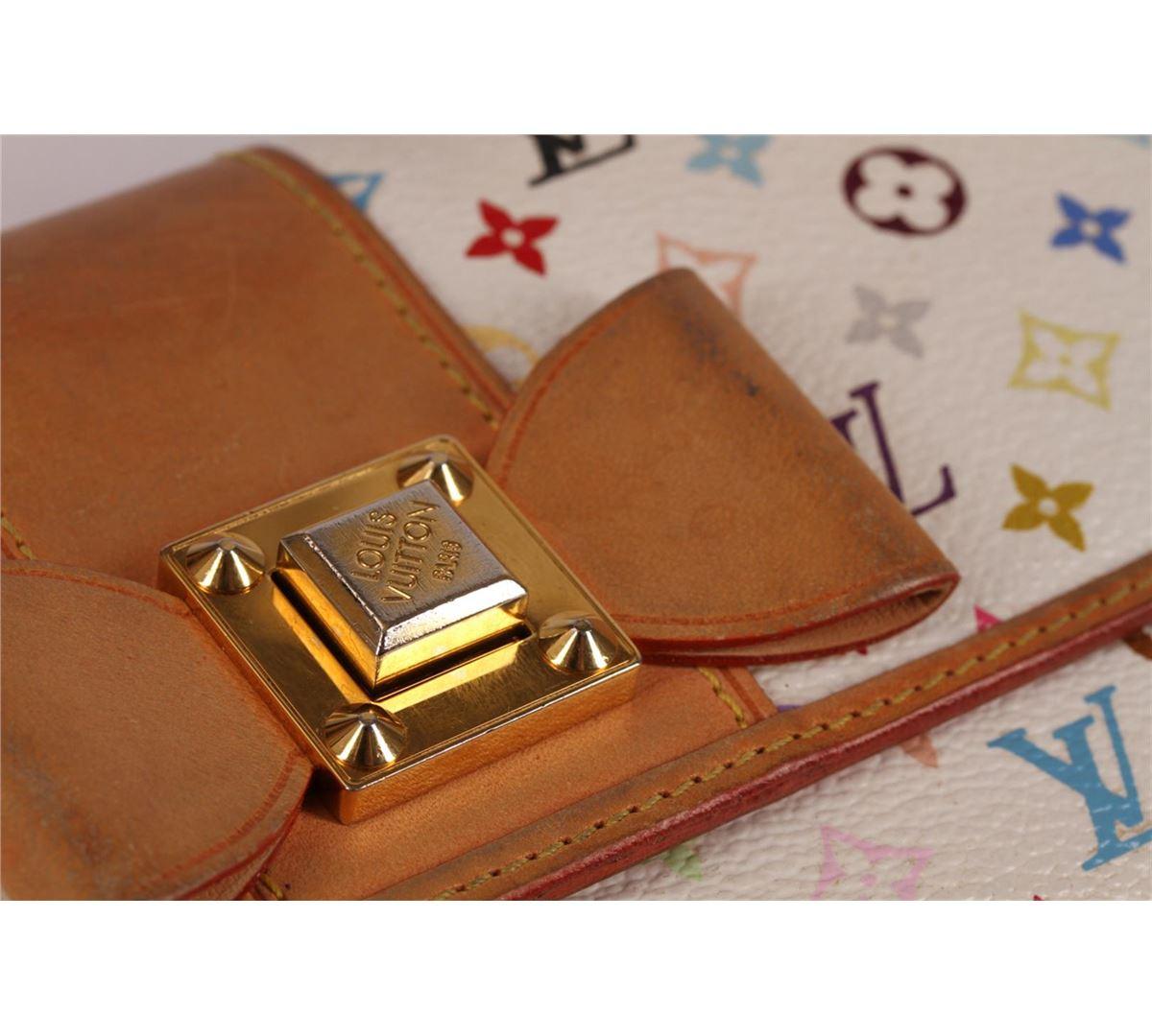 bde17558c96 ... Image 4   Authentic Louis Vuitton White Multicolor Monogram Bow Sarah  Wallet ...