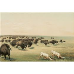 Set of Two Lithographs Buffalo Hunt, Under the White Wolf Skin