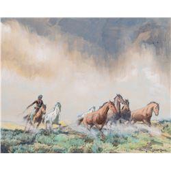 Navajo Herding Wild Horses