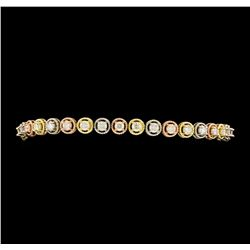 3.20 ctw Diamond Bracelet - 14KT Tri Color Gold