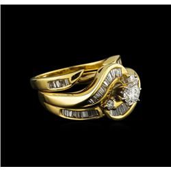 1.25 ctw Diamond Wedding Ring Set - 14KT Yellow Gold