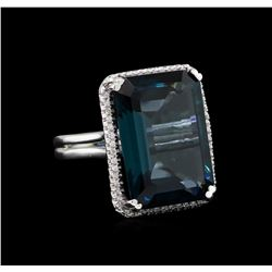 28.82 ctw Blue Topaz and Diamond Ring - 14KT White Gold