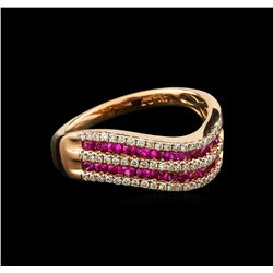 0.80 ctw Ruby and Diamond Ring - 14KT Rose Gold