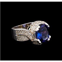 4.20 ctw Tanzanite and Diamond Ring - 14KT White Gold