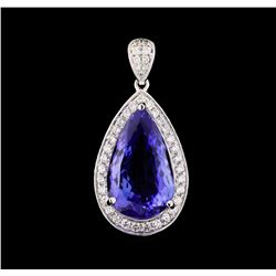 9.17 ctw Tanzanite and Diamond Pendant - 18KT White Gold