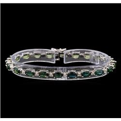 14KT White Gold 11.20 ctw Green Sapphire and Diamond Bracelet
