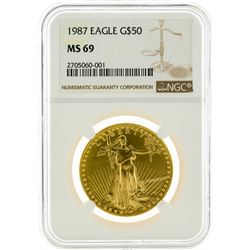 1987 NGC MS69 $50 Eagle Gold Coin