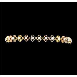 1.35 ctw Diamond Bracelet - 14KT Tri Color Gold